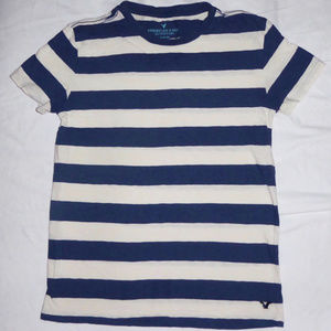 SHIRT AMERICAN EAGLE BLUE IVORY STRIPES TEE XS